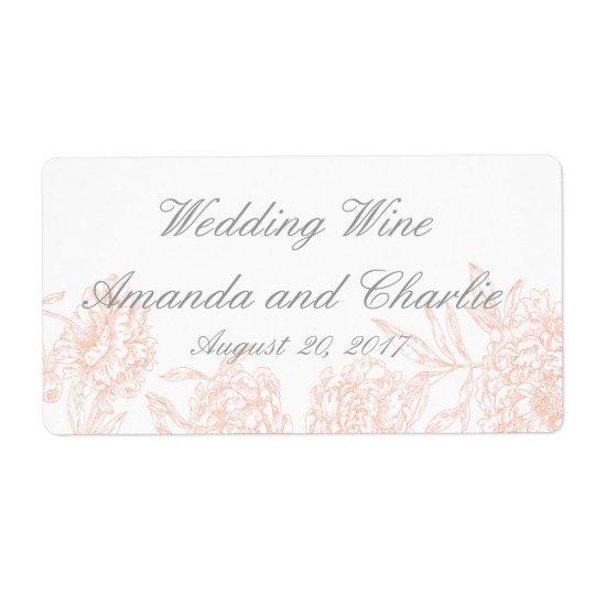 Orange Grey Floral Vintage Wedding Wine Label