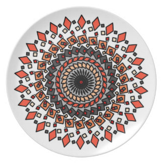 Orange Grey Geometric Spiral Design Plate