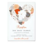 Orange Grey Heart Flowers Wedding Reception Card 9 Cm X 13 Cm Invitation Card