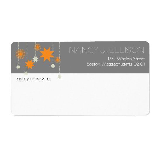 Orange grey modern star fireworks sparkle address shipping label