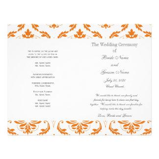 Orange Grey Vintage Damask Wedding Program 21.5 Cm X 28 Cm Flyer