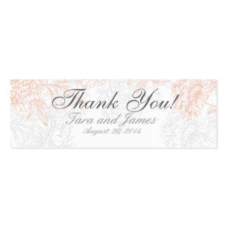 Orange Grey Vintage Floral Wedding Favor Tags Business Card Templates