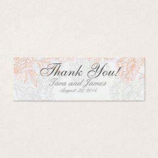 Orange Grey Vintage Floral Wedding Favor Tags Mini Business Card