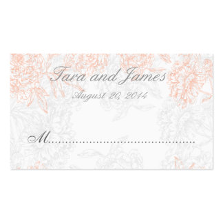 Orange Grey Vintage Floral Wedding Place Card Business Card