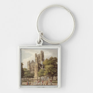 Orange Grove, from 'Bath Illustrated by a Series o Silver-Colored Square Key Ring