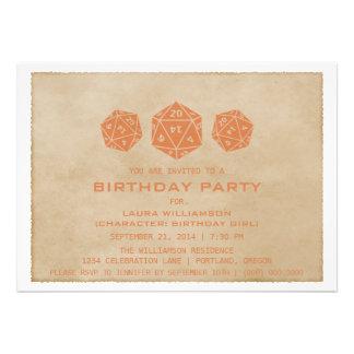 Orange Grunge D20 Dice Gamer Birthday Party Invite