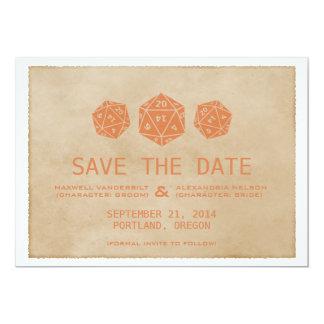 Orange Grunge D20 Dice Gamer Save the Date Invite