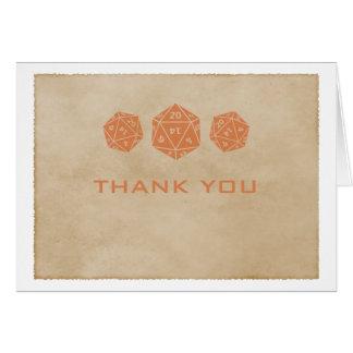 Orange Grunge D20 Dice Gamer Thank You Card