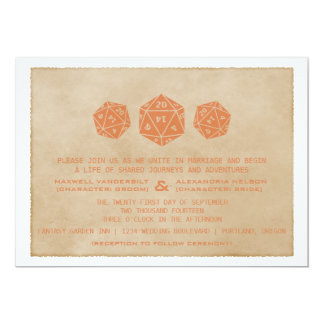 Orange Grunge D20 Dice Gamer Wedding Invitation