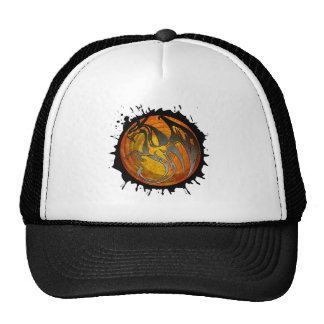 Orange grunge paint splatter dragon trucker hat