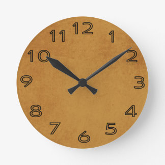 Orange Grungy Sanded Background Round Wall Clock