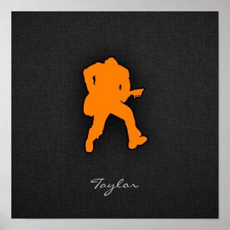 Orange Guitar Player Poster