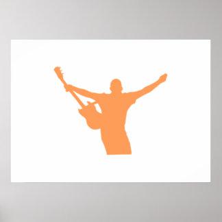 Orange Guitar Player Silhouette Print