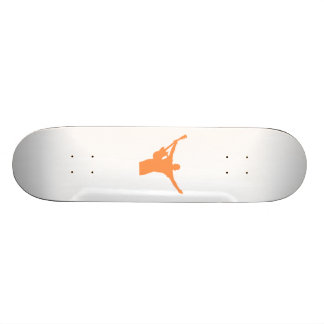 Orange Guitar Player Silhouette Skateboard Deck