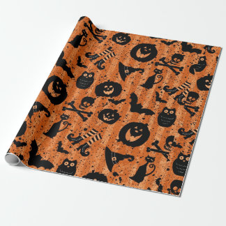 Orange Halloween Bat Pumpkin Witch Hat Owl Paper