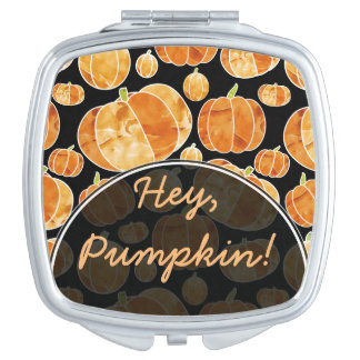 Orange Halloween Fall Watercolour Pumpkin Pattern Compact Mirrors