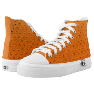 orange halloween pumpkin pattern high tops