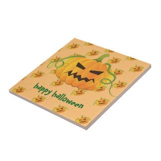 Orange Halloween Pumpkin Seamless Pattern Small Square Tile