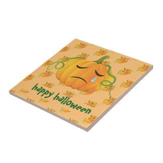 Orange Halloween Sad Pumpkin Seamless Pattern Small Square Tile