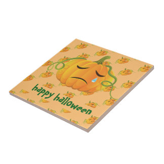 Orange Halloween Sad Pumpkin Seamless Pattern Tile