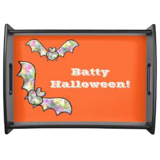 Orange Halloween Serving Tray Bat and Heart