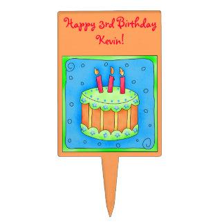 Orange Happy 3rd Birthday Cake Pick