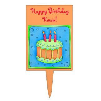 Orange  Happy Birthday Cake Pick
