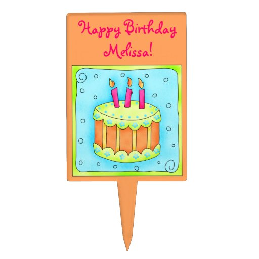 Orange  Happy Birthday Cake Topper