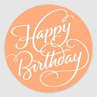 ORANGE HAPPY BIRTHDAY | STICKER