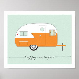 Orange Happy Camper art print 8 x 10