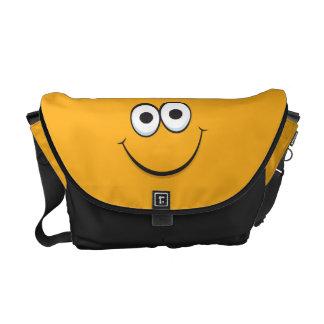 Orange happy cartoon smiley face messenger bag
