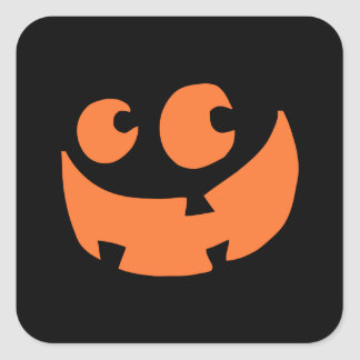 Orange Happy Halloween Pumpkin Square Sticker