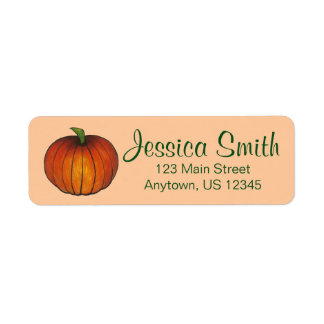 Orange Harvest Pumpkin Halloween Thanksgiving Fall Return Address Label