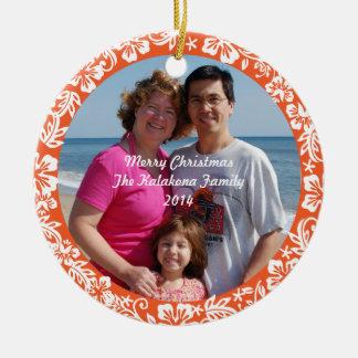Orange Hawaiian Hibiscus Christmas Photo Ornament