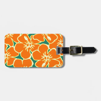 Orange Hawaiian Hibiscus Flowers Luggage Tag