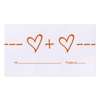 Orange Heart Equation Place Card Pack Of Standard Business Cards