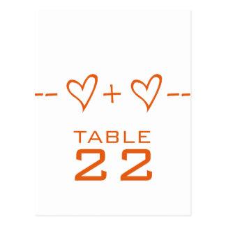 Orange Heart Equation Table Number Postcard