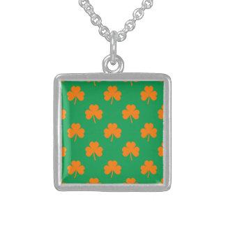 Orange Heart Shamrocks on Irish Green St.Patrick's Necklace