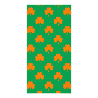 Orange Heart Shamrocks on Irish Green St.Patrick's Photo Card