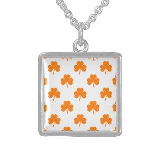 Orange Heart Shaped Clover on White St. Patrick's Necklace