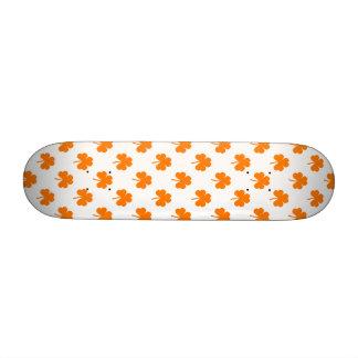 Orange Heart Shaped Clover on White St. Patrick's Skateboards