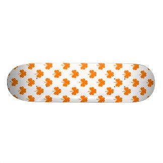 Orange Heart Shaped Clover on White St. Patrick's Skate Boards