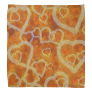 Orange Heart Template Texture Bandana