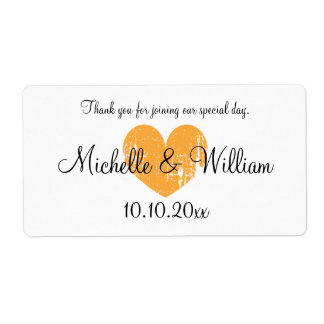 Orange heart wedding wine or water bottle labels