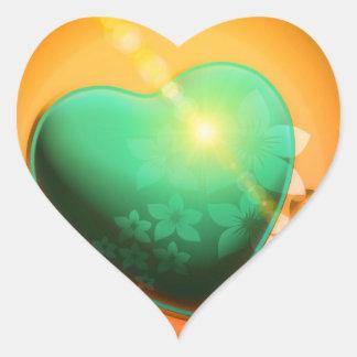 Orange hearts background w green heart & shamrock heart sticker