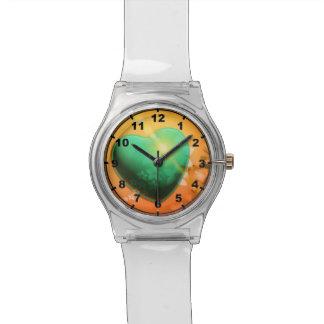 Orange hearts background w green heart & shamrock wristwatch