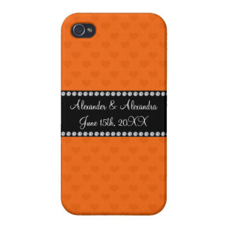 Orange hearts wedding favors cases for iPhone 4