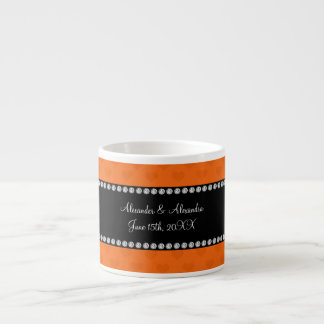 Orange hearts wedding favors espresso cups