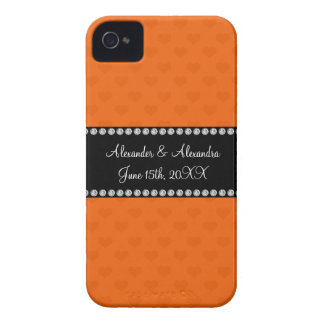 Orange hearts wedding favors iPhone 4 cases