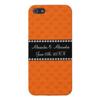 Orange hearts wedding favors case for iPhone 5